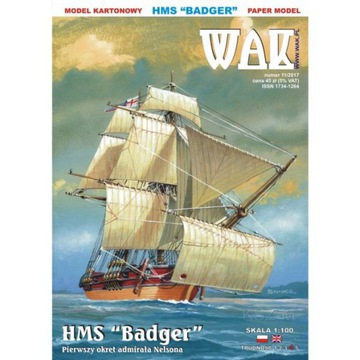 ОАК 11/17 - Бриг HMS Барсук с 1778r. 1:100 доставка товаров из Польши и Allegro на русском