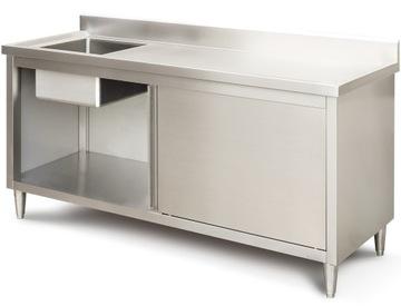 Gastronomický pracovný stôl Plavecký bazén INOX 180 cm umývadlo