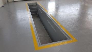 Autodielňa, betónový odlievací kanál, dlhá 7 m