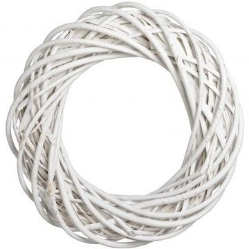 Белый плетеный венок, диаметр 20 см. ПЛЕТЕНЬ. Толстый.