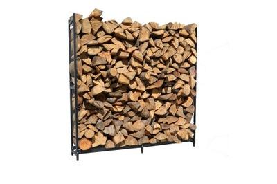 Duży stojak na drewno kominkowe, kosz metalowy
