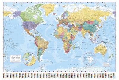 политическая Карта Мира и Флаги - плакат 91,5x61 см