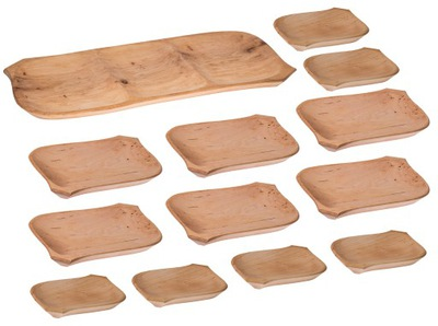 Лоток деревянные +12 talerzyków миска лотка комплект