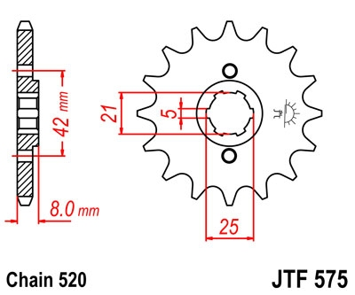 Zębatka przód JTF575-16 Yamaha XJR 400 1993r