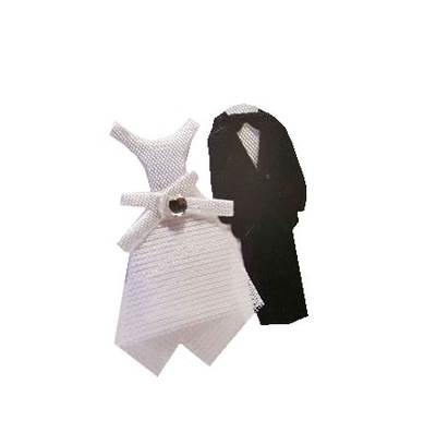 Ozdoba ślubna scrapki naklejki para młoda garnitur