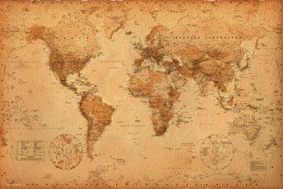 Mapa sveta starý štýl plagát 91,5x61 cm