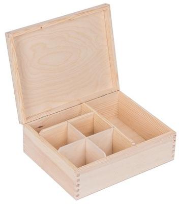 Úložný box - Drewniane PUDEŁKO organizer POJEMNIK DECOUPAGE EKO
