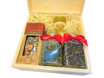 комплект подарок чай , мед, czekol. медовая