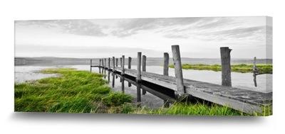 ОЗЕРО 150x60 картина на холсте Пейзаж мост, трава