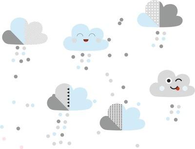 Nálepka pastelové mraky obloha sivá modrá