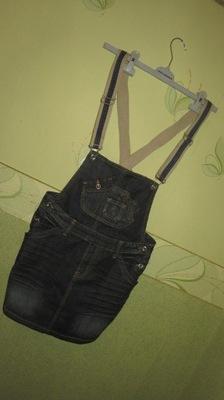 Spódnica ołówkowa  jeansowa na szelkach r36 S Blog