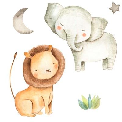 Samolepka na stenu Pastelový džungľový slon