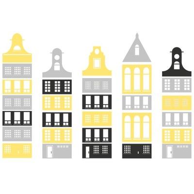 Nálepka na stenu, budovy, domy, akákoľvek farba