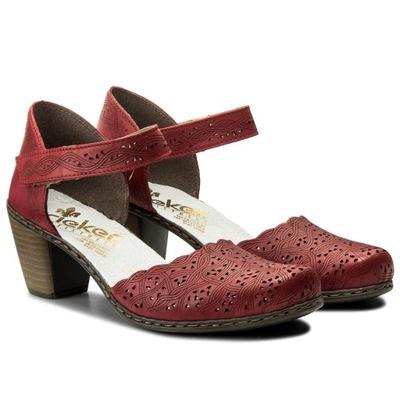 6c629c42d3c11 Rieker 40987-33 39 czerwone sandały półbuty %%%%%% - 7342706840 ...