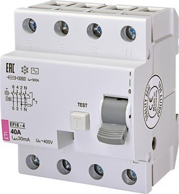 Prostredníctvom zariadenia ochranné vypnutie EFI6-4 AC 40 002062138