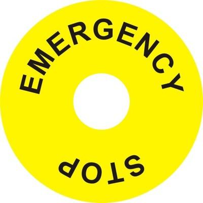 наклейка Emergency Stop круглая F НДС