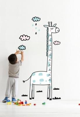 наклейка мерка РОСТ МИШКА ракета жираф воздушный шар