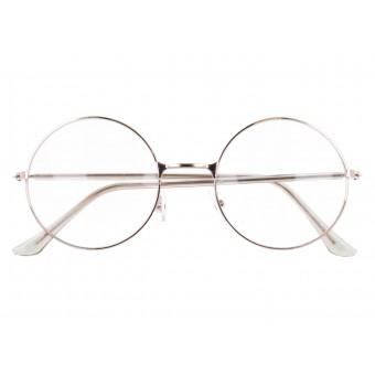 okulary zerówki damskie złote okrągłe