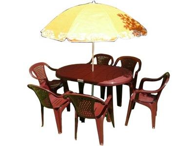 комплект МЕБЕЛИ стол стулья 6 +1 +ЗОНТИК
