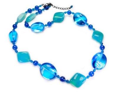 korale perły niebieskie naszyjnik błękitny krótki 7474749353 ... 5b1e2658e44
