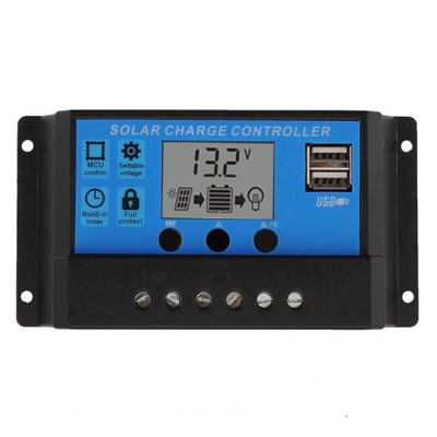 Regulátora solárneho regulátora 10A 12V/24V LCD USB FV