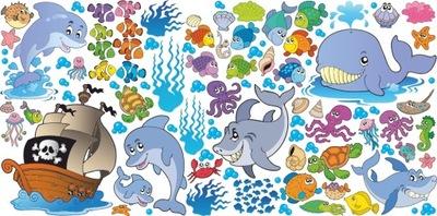 NÁLEPKY NA STENY FISH Ocean Set 1 200x100 cm