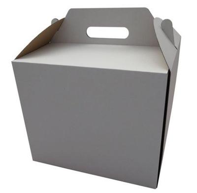 картон коробка ТОРТ Белый С ДЕРЖАТЕЛЕМ 26x26x25cm