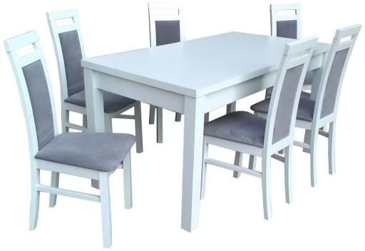 Stół Rozkładany I 6 Krzeseł A85 Biały Zestaw Hit 7285320280