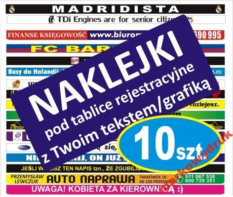 10szt NAKLEJKI POD TABLICE - JAKOŚĆ - 24h WYSYŁKA 7535555815