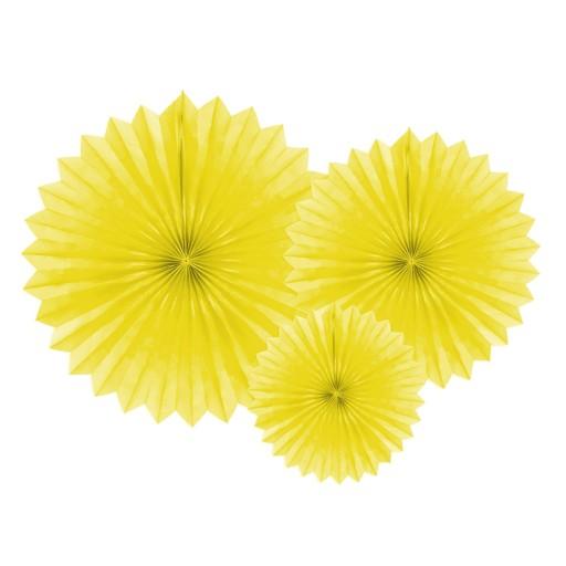 Rozety Dekoracyjne Wachlarze żółte 3 Szt