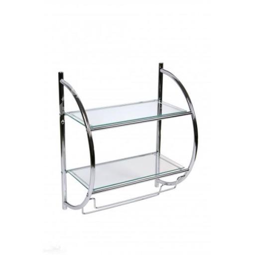 Półka łazienkowa ścienna Szklana Metalowa Podwójna 7238150875