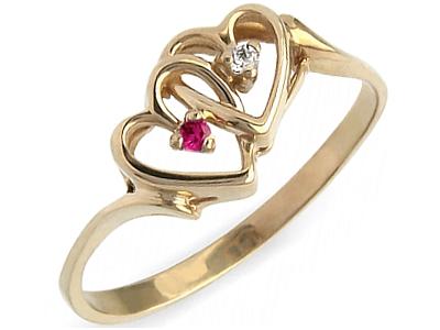 Złoty 585 Pierścionek 2 Serca Z Rubin Zaręczynowy 6429275478