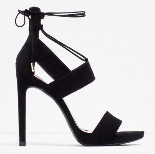 Czarne sandały na szpilce Zara Vinted