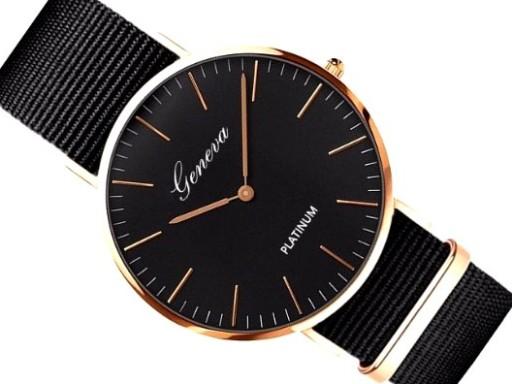 złoty zegarek na czarnym pasku damski