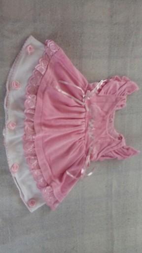 Śliczna welurowa sukienka kokardki różyczki - 68