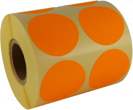 pomarańczowe okrągłe kółeczka etykietki kółka 50mm