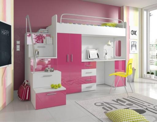 Łóżko Piętrowe biurko łóżko szafa schody 80x200