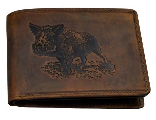 a37a41f46c6aa Skórzany portfel myśliwski z wytłoczonym dzikiem 6735010262 - Allegro.pl