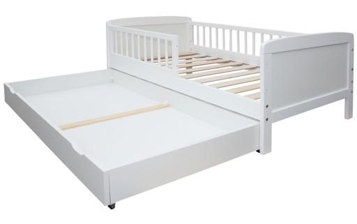 Łóżko 140x70 SZUFLADA 2w1 OPCJA TAPCZANIK białe