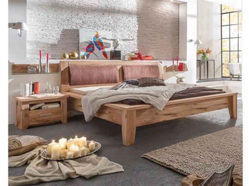 Dębowe łóżko 180x200 Szafki Nocne Toronto Zestaw