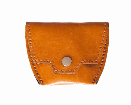 Bilonówka skórzana koniakowa męski mały portfel