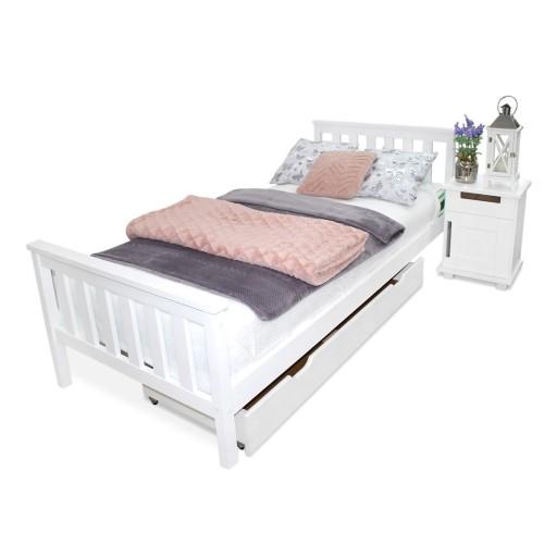 łóżko Drewniane Iza 90x200 Białe Materac Produce