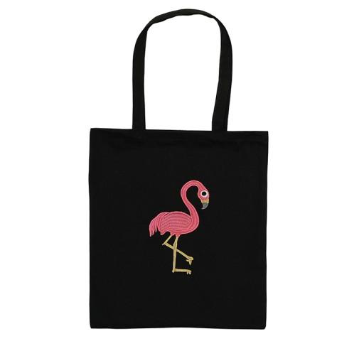 adb1f4f13e428 Torba Plażowa Płócienna lekka na lato Flamingi T69. EKO-Torba bawełniana  czarna z haftem FLAMING