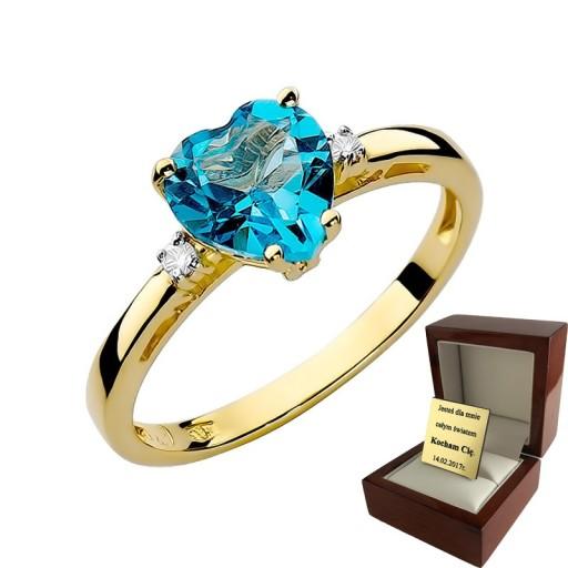 Złoty Pierścionek Zaręczynowy Topaz I Brylanty 6704101582 Allegropl
