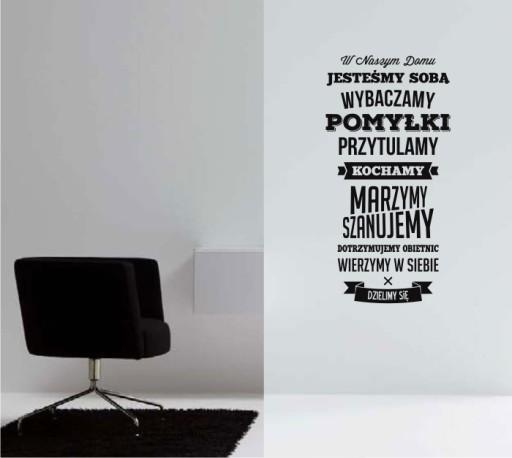 Naklejka na ścianę, W tym domu, W naszym dom Cytat