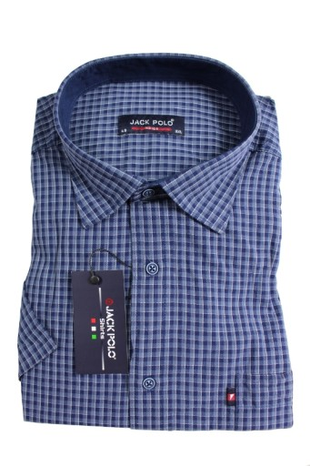 Duża koszula kratka JackPolo 4XL 50 K040 niebieska  5ugqO