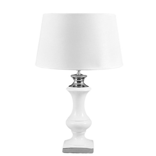 Lampa Stołowa Biała Srebrna Ceramiczna H55cm Nocna 6977634337