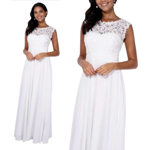 Biała Sukienka ślub Cywilny Wesele Druhny M 7826530028 Allegropl