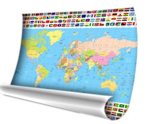 Mapa świata ścienna Naklejka Na ścianę Plakat