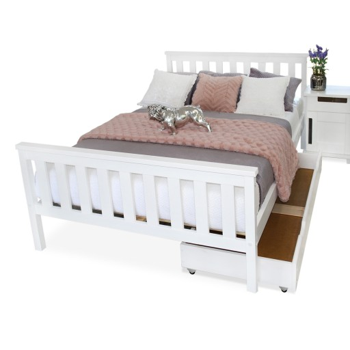 łóżko Drewniane Iza 160x200 Białe Materac Produc